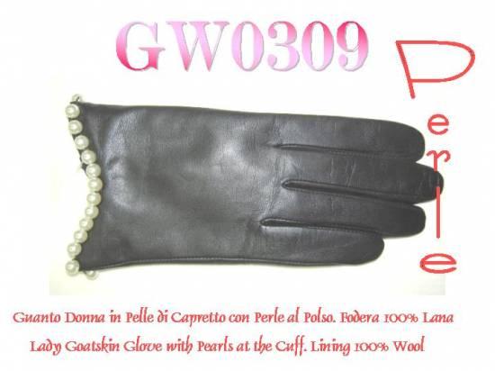 (GW0309) Guanto donna pelle con perle al polso. Pelle di capretto fd4eb5467528